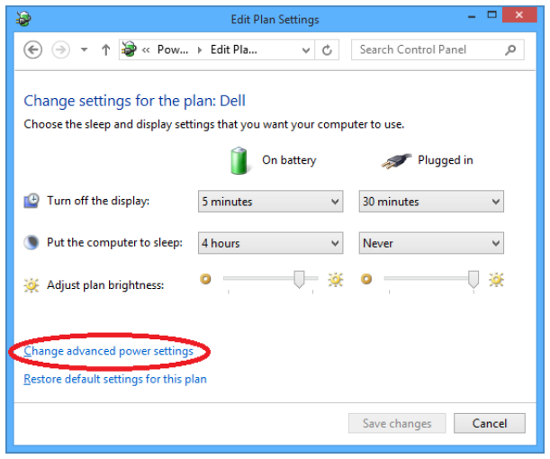 Edit Plan Settings, Change advanced power settings