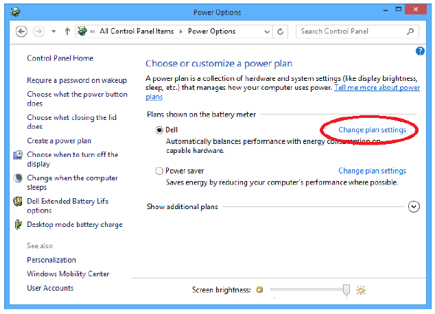 Power Options Change Plan Settings