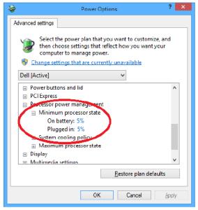 Advanced Power Settings Processor power management